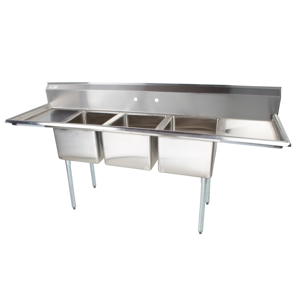 2 Compartment Sink : ... Compartment Commercial Sink with 2 Drainboards - 16
