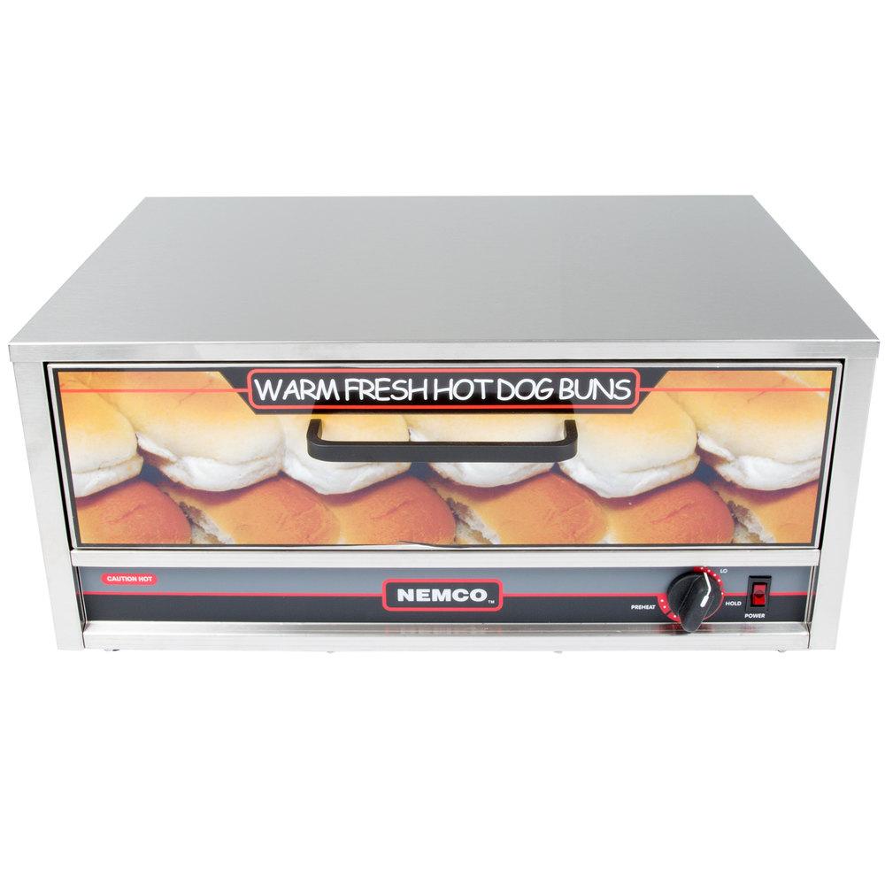 Nemco 8027 bw 220 moist heat hot dog bun warmer for 8027 - Hot dog roller grill with bun warmer ...