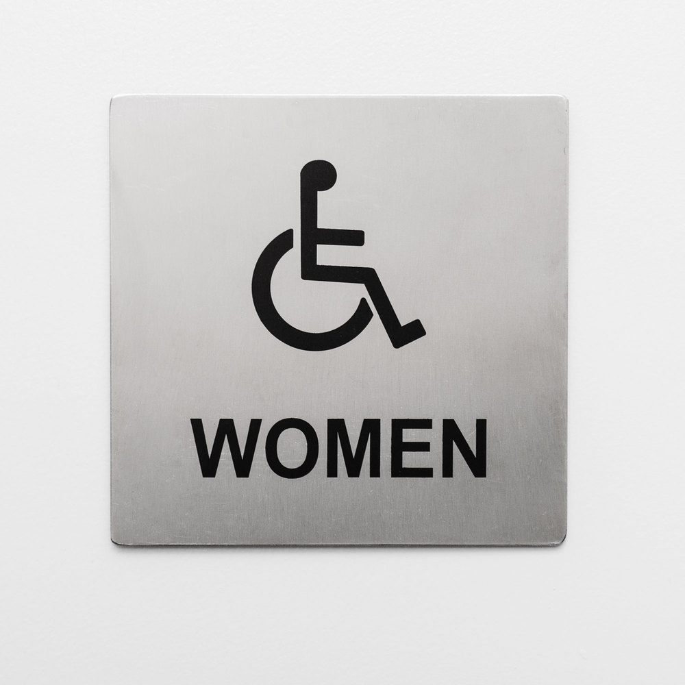Tablecraft b21 ada handicap accessible women 39 s restroom sign stainless steel 5 x 5 for Stainless steel bathroom signs