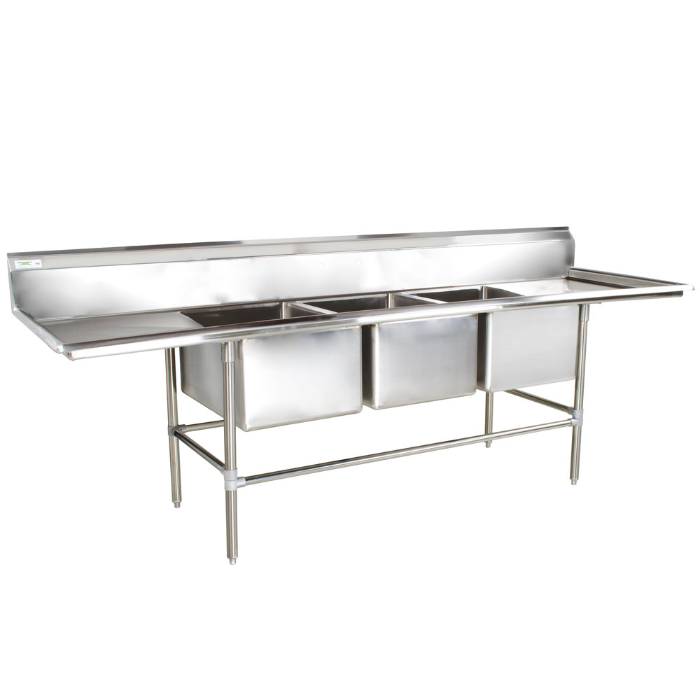 regency 115 inch 16 gauge stainless steel three compartment commercial sink with 2 drainboards. Interior Design Ideas. Home Design Ideas