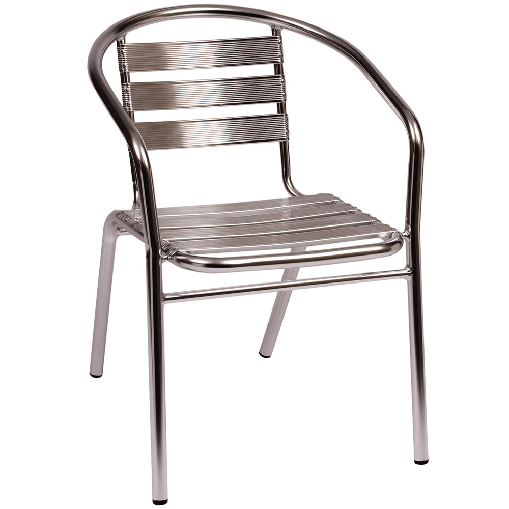 BFM Seating MS0021 Parma Outdoor Indoor Stackable Aluminum Arm Chair