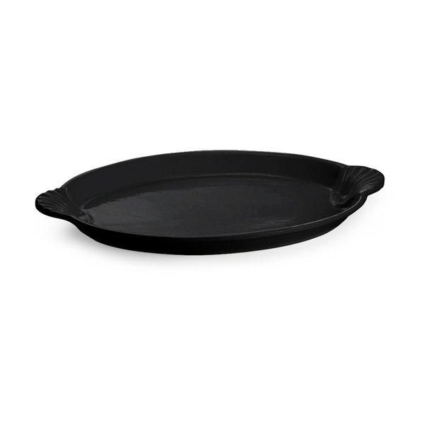 Tablecraft CW3030BK 20 inch x 14 inch Black Cast Aluminum Oval Shell Platter
