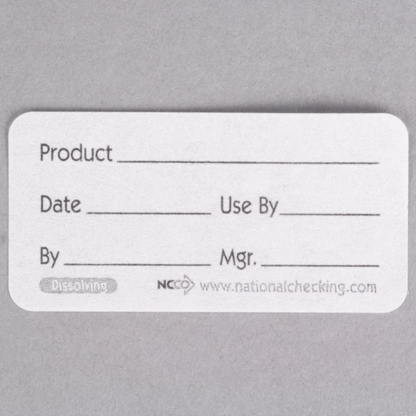 National Checking Company DP12R 1 inch x 2 inch Dissolvable Product Label - 500/Roll