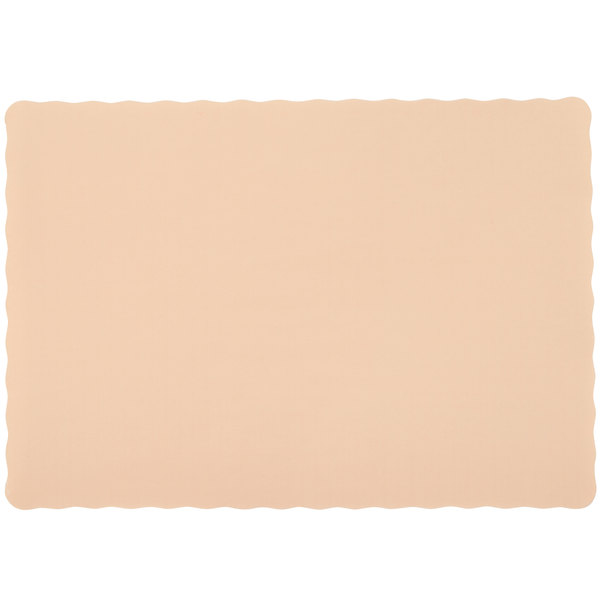 10 inch x 14 inch Ecru Colored Paper Placemat with Scalloped Edge - 1000/Case