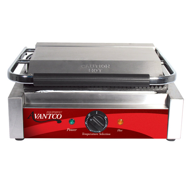 Avantco P78 Grooved Commercial Panini Sandwich Grill - 120V, 1750W