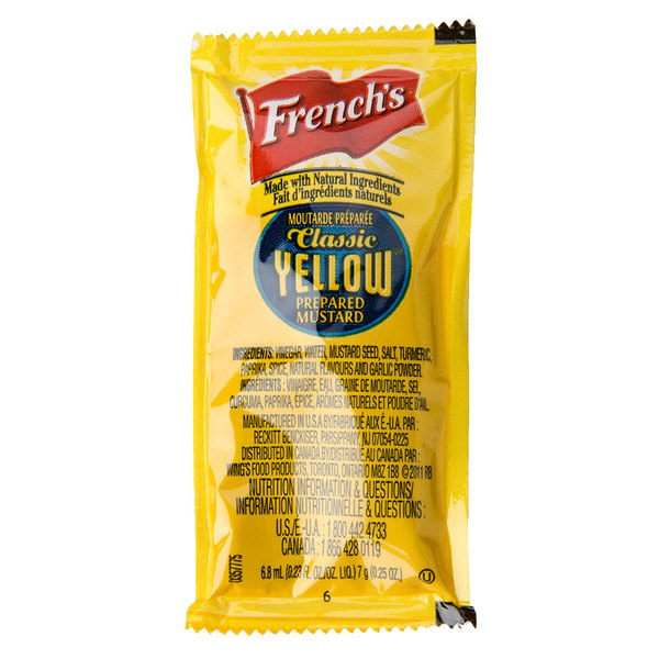 French's Classic Yellow Mustard - (200) 7 Gram Portion Packets / Case