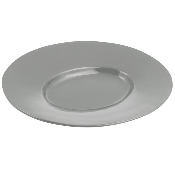 Bon Chef 2090 19 inch x 16 inch Sandstone Platinum Gray Cast Aluminum Wide Rim Platter