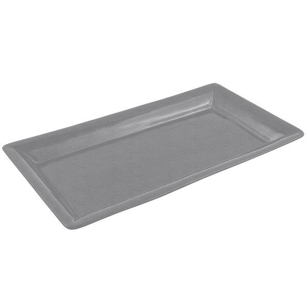 Bon Chef 5057 19 inch x 10 inch Sandstone Smoke Gray Cast Aluminum Display Pan