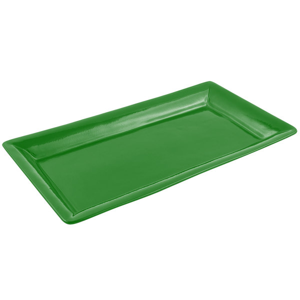 Bon Chef 5057 19 inch x 10 inch Sandstone Calypso Green Cast Aluminum Display Pan