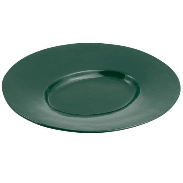 Bon Chef 2090 19 inch x 16 inch Sandstone Hunter Green Cast Aluminum Wide Rim Platter