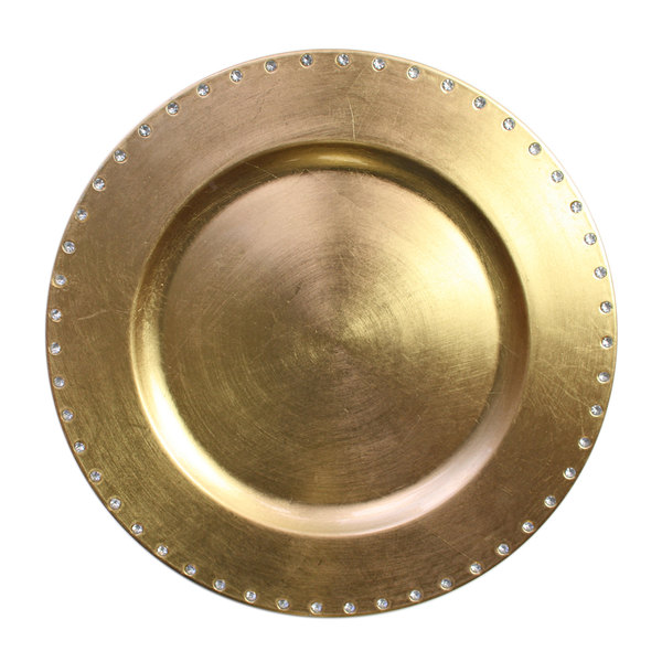 The Jay Companies 13 inch Round Gold Jeweled Rim Polypropylene Charger Plate