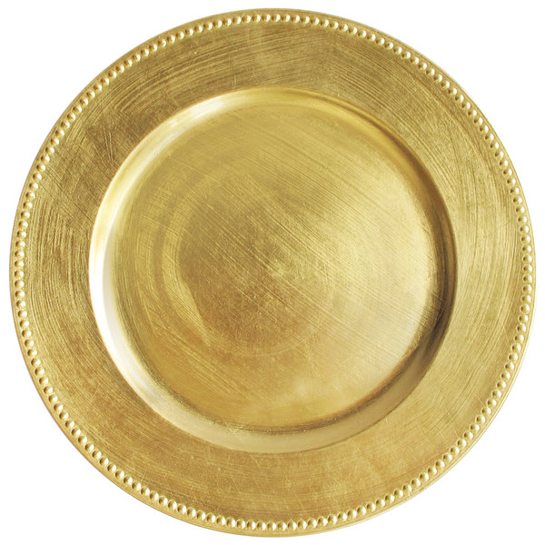 The Jay Companies 13 inch Round Gold Beaded Melamine Charger Plate