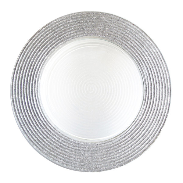 The Jay Companies 12 inch Round Silver Stripe Rim Glass Charger Plate