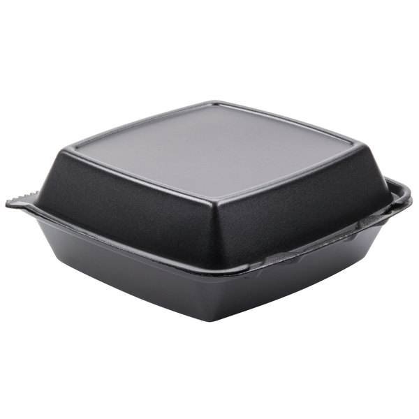 Dart Solo 85HTB1R 8 inch x 8 inch x 3 inch Black Foam Square Take Out Container with Perforated Hinged Lid - 200 / Case