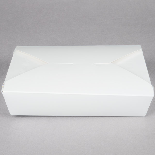Southern Champion 772 7 3/4 inch x 5 1/2 inch x 1 7/8 inch ChampPak Retro White Paper #2 Take-Out Container - 50/Pack