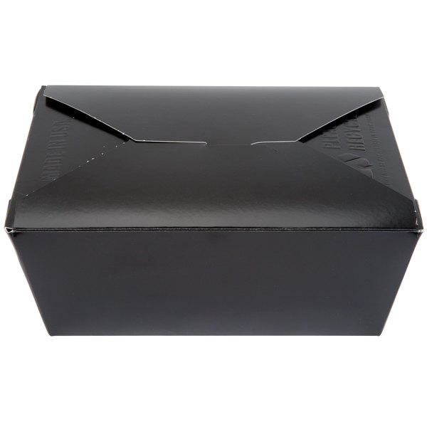 Southern Champion 784 8 inch x 6 inch x 4 inch ChampPak Retro Black Paper #4 Take-Out Container - 40/Pack