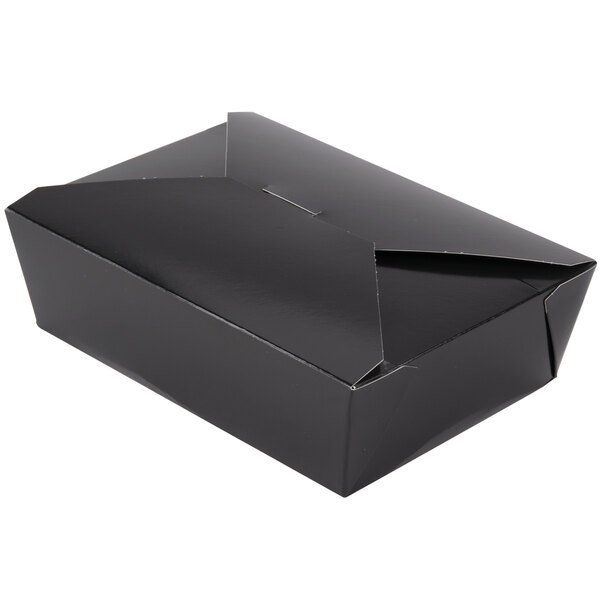 Southern Champion 783 8 inch x 6 inch x 3 inch ChampPak Retro Black Paper #3 Take-Out Container - 50/Pack