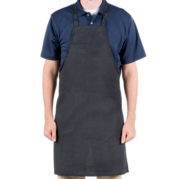 Choice Black Economy Full Length Bib Apron - 32 inchL x 28 inchW