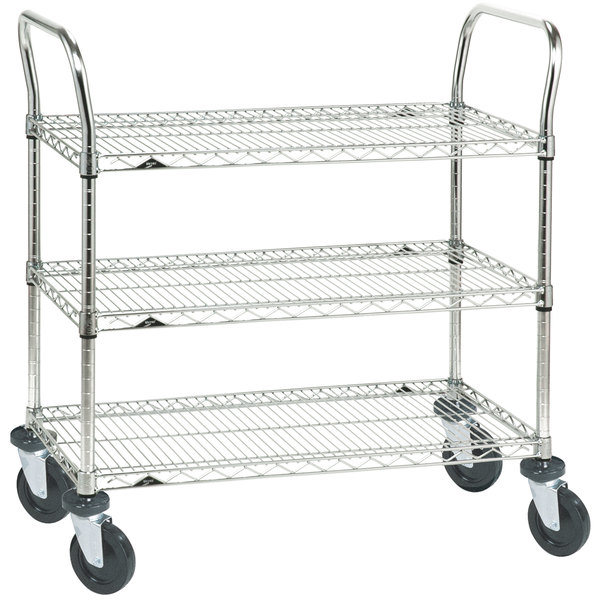Metro 3SPN56ABR Super Erecta Brite Three Shelf Heavy Duty Utility Cart with Rubber Casters - 24 inch x 60 inch x 39 inch