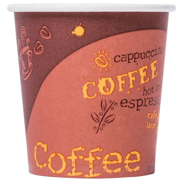 Choice 4 oz. Poly Paper Hot Cup with Coffee Design - 50/Pack