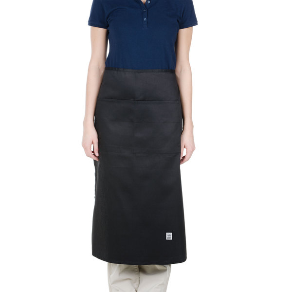 Chef Revival 607BA2-BK Customizable Long Black Crew Bistro Apron with Two Pockets - 34 inchL x 28 inchW