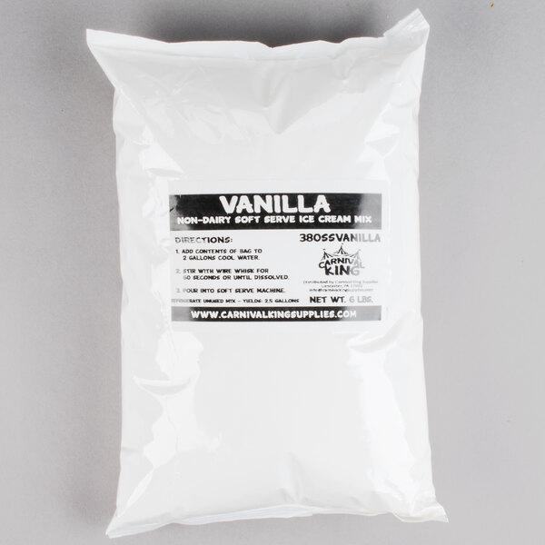 Carnival King Non-Dairy Vanilla Soft Serve Ice Cream Mix - (6) 6 lb. Bags / Case