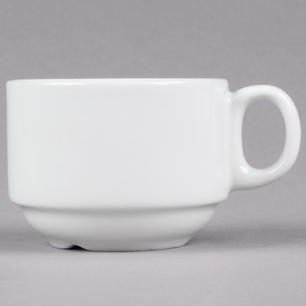 Tuxton ALF-0703 Alaska 7 oz. Rolled Edge Bright White Stackable China Cup - 36/Case