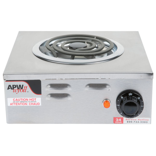APW Wyott CP-1A Champion Single Open Burner Portable Electric Hot Plate - 120V, 1250W