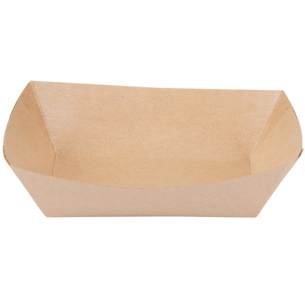 Bagcraft Papercon 300696 1 lb. EcoCraft Grease-Proof Natural Kraft Food Tray - 1000/Case