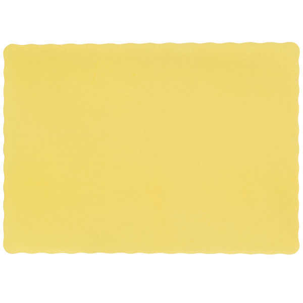 10 inch x 14 inch Yellow Colored Paper Placemat with Scalloped Edge - 1000/Case