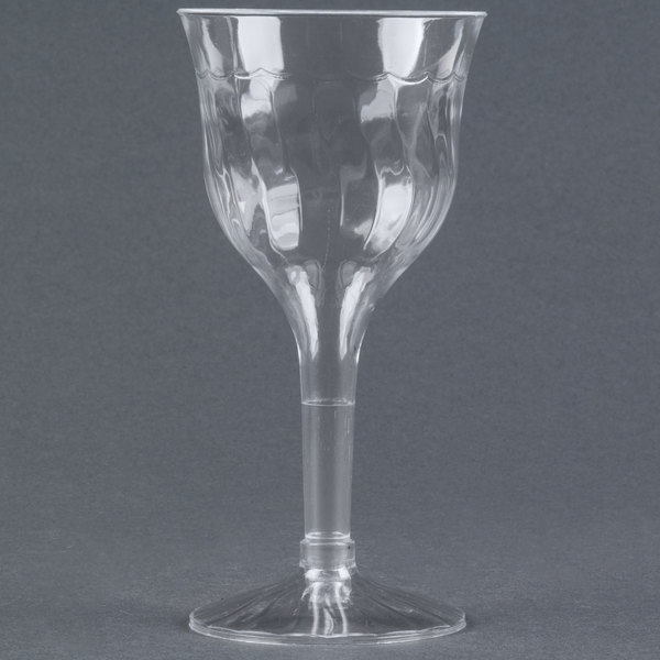 Fineline Flairware 2207 6 oz. Clear Plastic Wine Goblet - 10/Pack