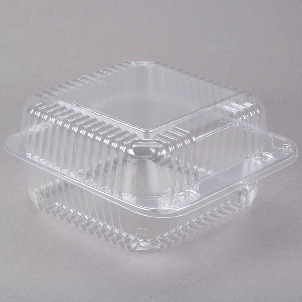 Dart Solo C25UT1 StayLock 6 1/8 inch x 6 1/2 inch x 3 1/4 inch Clear Hinged Plastic 6 inch Square Container - 500/Case