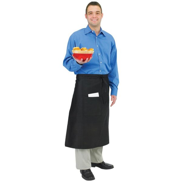 Chef Revival 607BA-BK Customizable Long Black Crew Bistro Apron with One Pocket - 34 inchL x 28 inchW