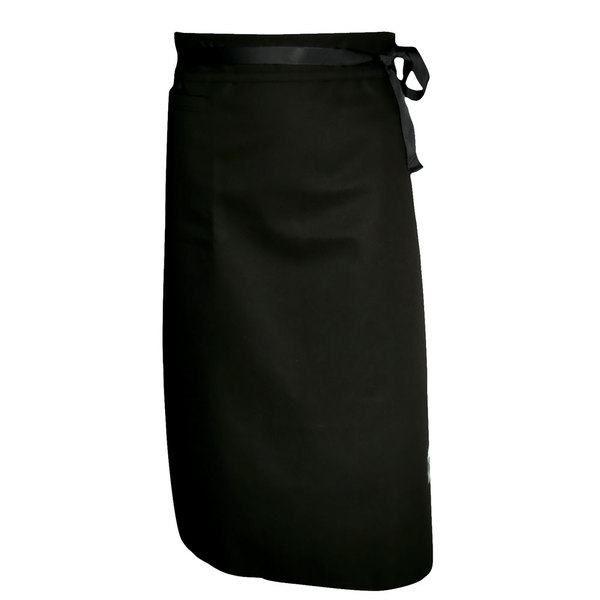 Chef Revival A011BK Customizable Black Chef Bistro Apron with Front Pocket - 29 inchL x 34 inchW