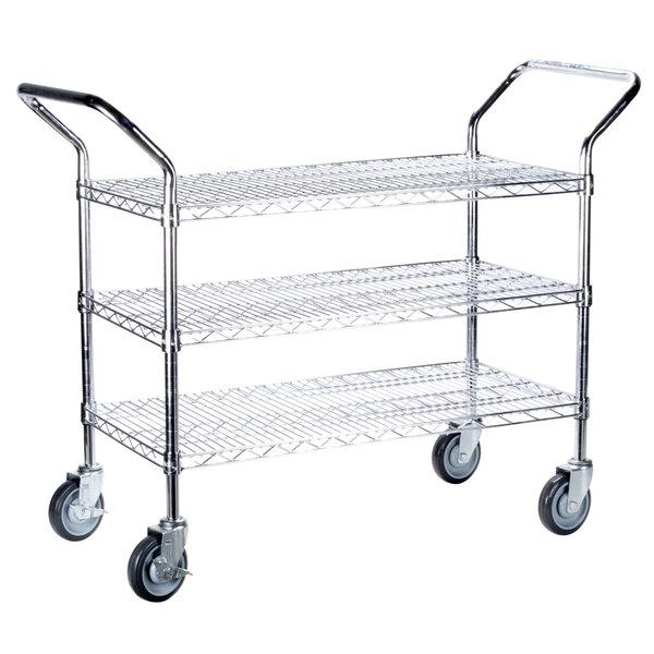 Regency 18 inch x 42 inch Three Shelf Chrome Heavy Duty Utility Cart