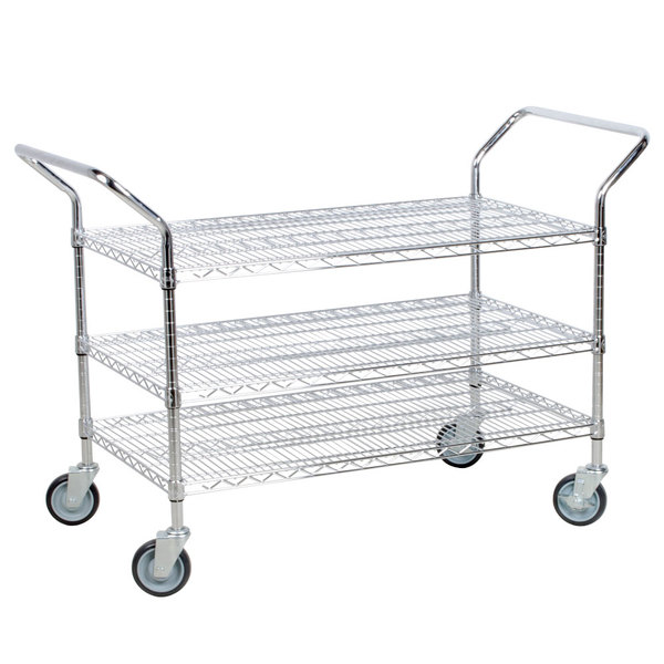 Regency 24 inch x 36 inch Three Shelf Chrome Heavy Duty Utility Cart
