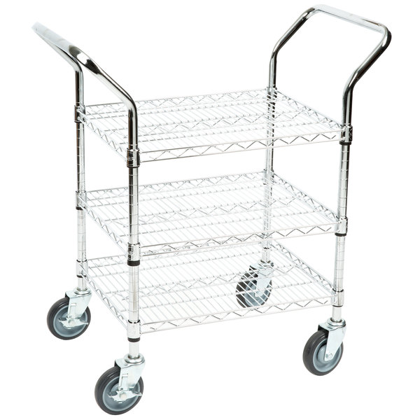 Regency 18 inch x 24 inch Three Shelf Chrome Heavy Duty Utility Cart
