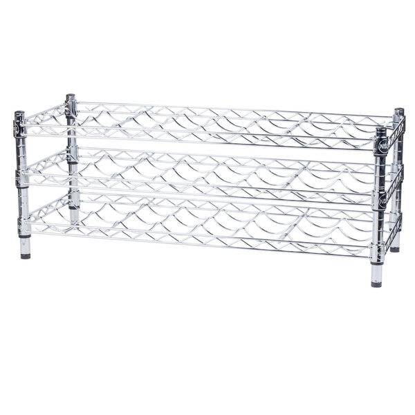 Regency 14 inch x 36 inch 3 Shelf Wire Wine Rack with 14 inch Posts