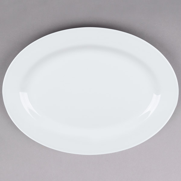 Tuxton ALH-180 Alaska 18 inch x 13 inch Wide Rim Rolled Edge Bright White China Serving Platter