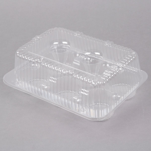 Par-Pak 2020 6-Cup High Top Hinged OPS Plastic Cupcake Container - 10/Pack