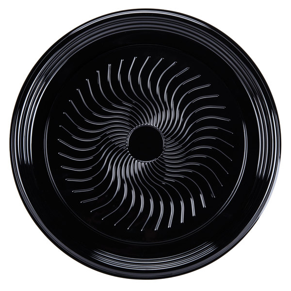 Visions Black PET Plastic 16 inch Thermoform Catering / Deli Tray 25 / Case