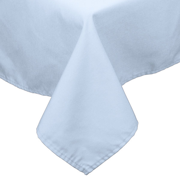 72 inch x 72 inch Light Blue 100% Polyester Hemmed Cloth Table Cover