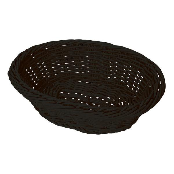 GET WB-1504-BK 9 1/4 inch x 6 3/4 inch Designer Polyweave Black Oval Basket - 12/Case