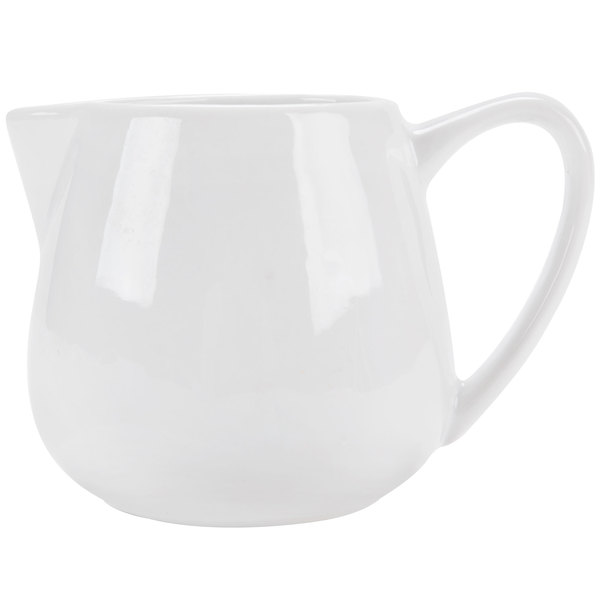 CAC PC-406 Bright White Porcelain 6 oz. Creamer with Handle - 36/Case