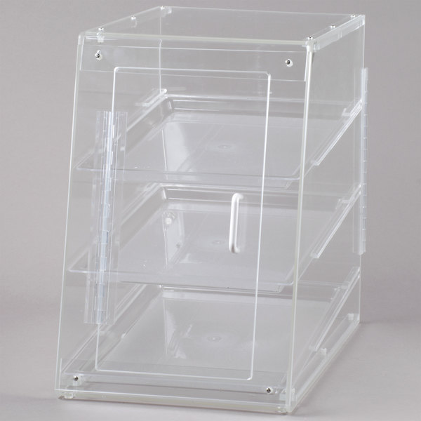 Cal-Mil 942-S Classic U-Build Three Tier Acrylic Display Case with Front and Rear Doors - 13 1/2 inch x 22 inch x 21 inch