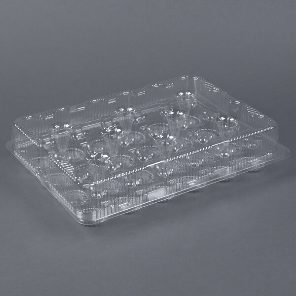 Par-Pak 2443 24 Compartment Clear Cupcake / Muffin Takeout Container  - 50/Case