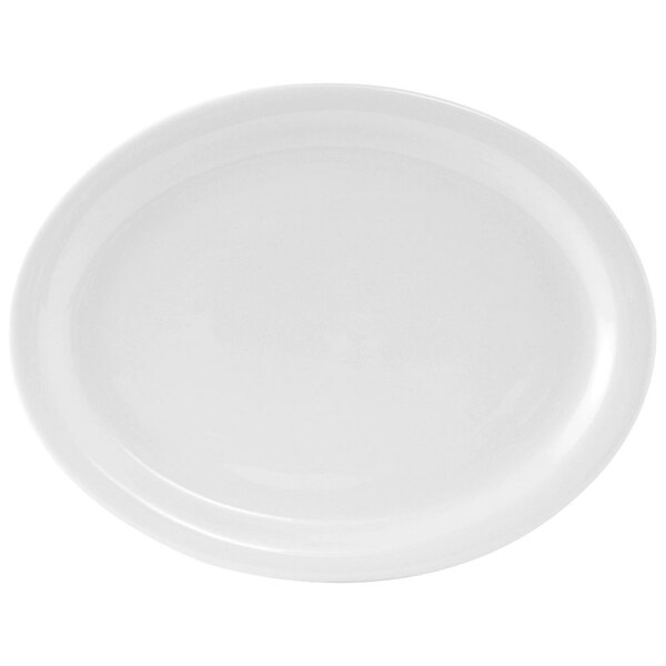 Tuxton CLH-114 Colorado 11 1/8 inch x 8 5/8 inch Narrow Rim Rolled Edge Bright White China Oval Platter - 12/Case