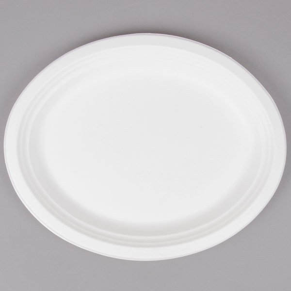EcoChoice Biodegradable, Compostable Sugarcane / Bagasse 10 inch x 12 1/2 inch Oval Platter - 500/Case