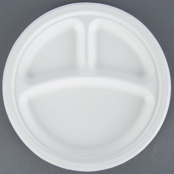 EcoChoice Biodegradable, Compostable Sugarcane / Bagasse 9 inch Plate 3 Compartment - 500 / Case