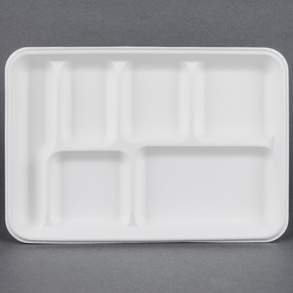 EcoChoice 8 inch x 10 inch Biodegradable, Compostable Sugarcane / Bagasse 6 Compartment Tray - 100 / Pack